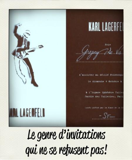 Carton d'invitation au défilé de Karl Lagerfeld SS 2010